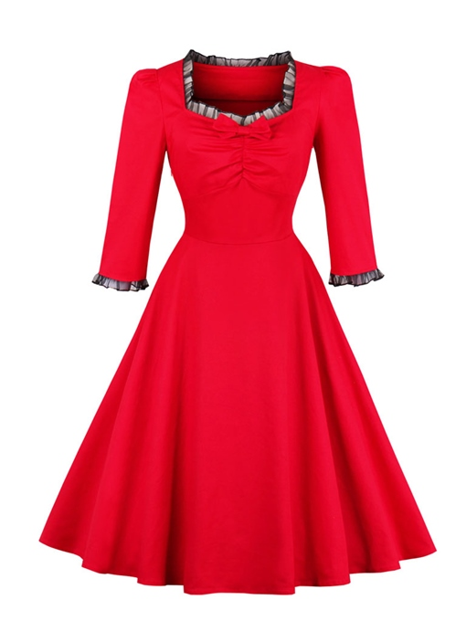 Red Square Neck Patchwork Women's Day Dress