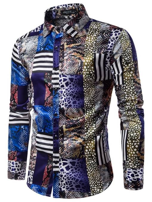 Lapel African Leopard Grain Floral Printed Slim Men's Vogue Shirt