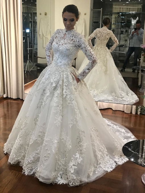 High Neck Lace Muslin Long Sleeves Wedding Dress