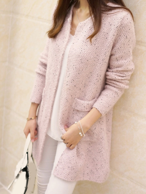 Plain Loose Mid-length Women's Sweater Coat