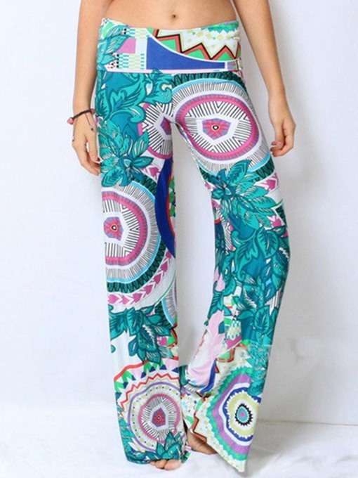 Green Straight Retro Geometric Printing Women's Pants