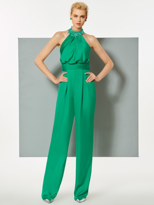 Sheath Halter Beaded Pleats Evening Jumpsuits