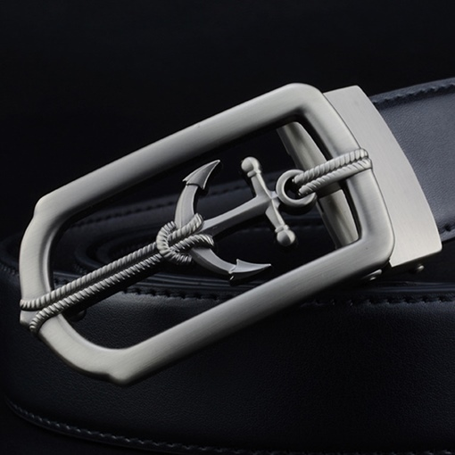 Automatic Buckle Embossed Artificial Leather Men's Belts