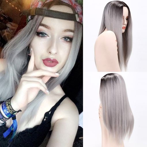 Ombre Gray Long Straight Synthetic Hair Capless Halloween 26 Inches