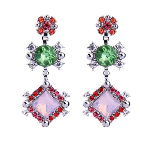 Rhombus Round Rhinestone Alloy Synthetic Stones Earrings
