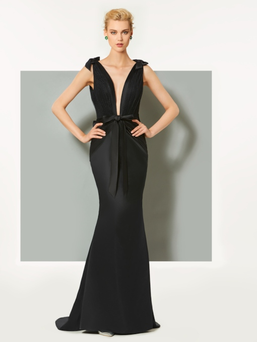 Mermaid Bowknot V-Neck Sweep Train Evening Dress