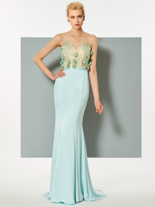 Mermaid Scoop Flowers Beading Sweep Train Evening Dress