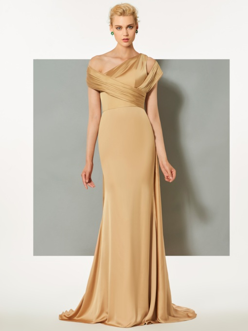 Trumpet One-Shoulder Sleeveless Pleats Watteau Train Evening Dress