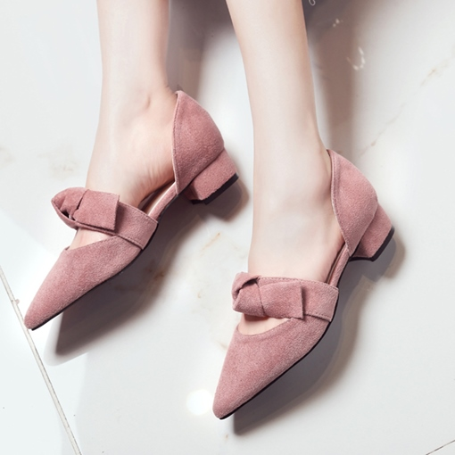 Lace-Up Suede Block Heel Bow Women's Sweet Pump Shoes