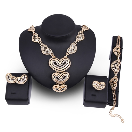 Heart Shaped Hollow Out Diamante Link Chain Jewelry Sets