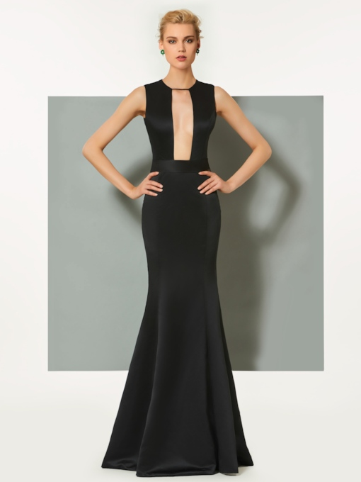 Scoop Hollow Mermaid Floor-Length Evening Dress