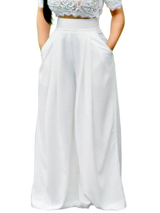 Plain High-Waist Pleated Loose Wide Legs Women's Pants