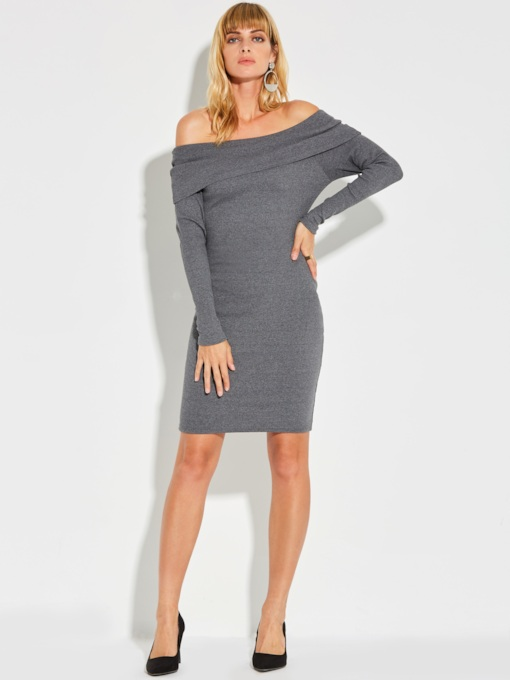 Dark Gray Off Shoulder Women's Sweater Dress