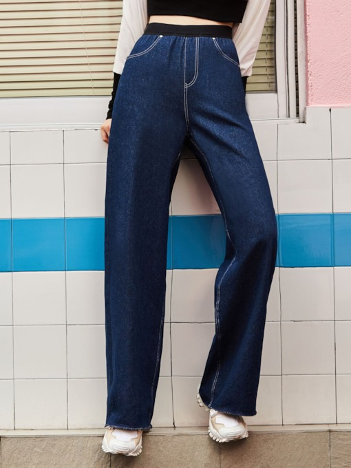 Plain Denim Wide Legs Full Length Women's Bellbottoms