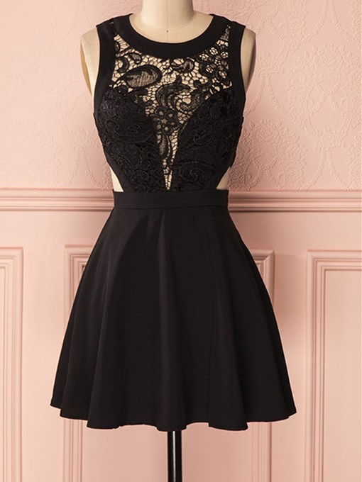 A-Line Lace Scoop Sleeveless Short Homecoming Dress