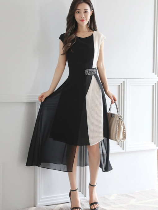 Double-Layered Cap Sleeve Women's Day Dress