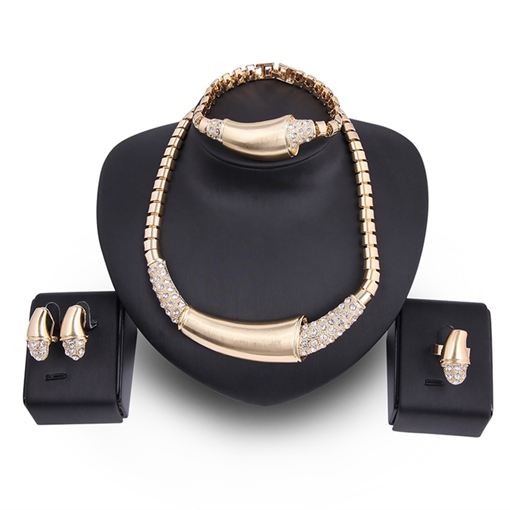 Diamante Box Chain Alloy Arc Shaped Jewelry Sets