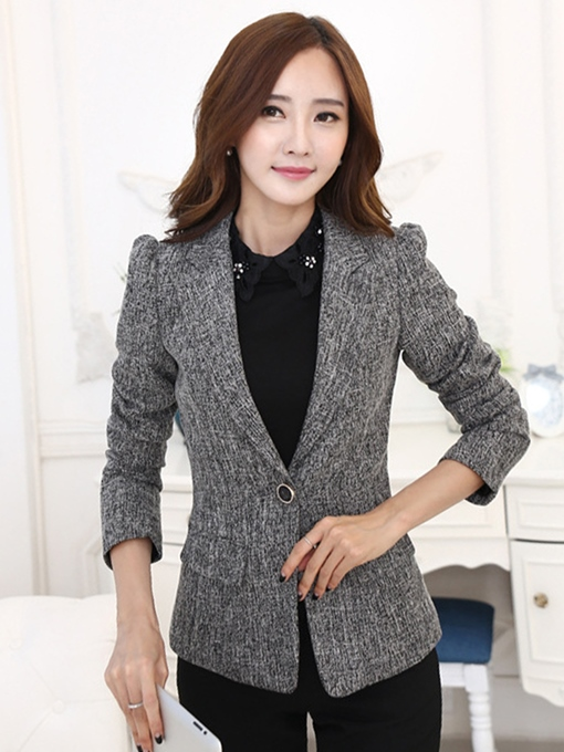 Wool Blends Vest One Button Women's Blazer