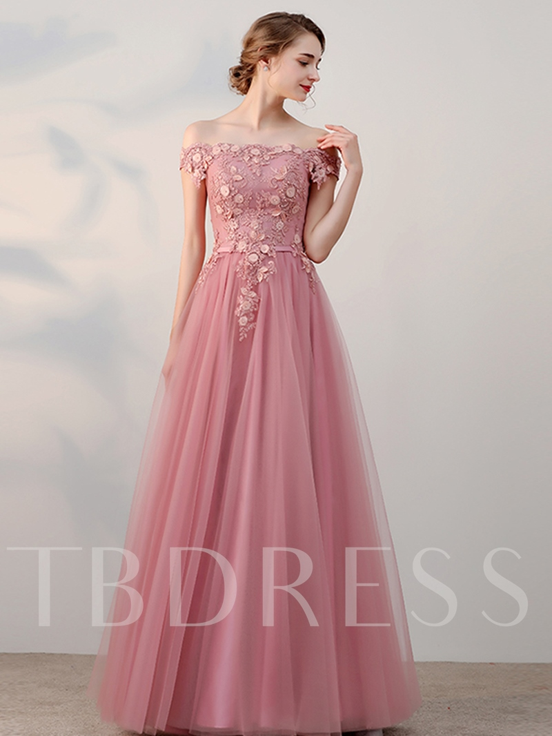 Image of A-Line Off-the-Shoulder Beading Flowers Pearls Sashes Short Sleeves Prom Dress