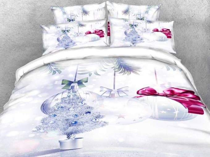 Snowflake Tree White 3D Four-Piece Set Floral Bedding Sets