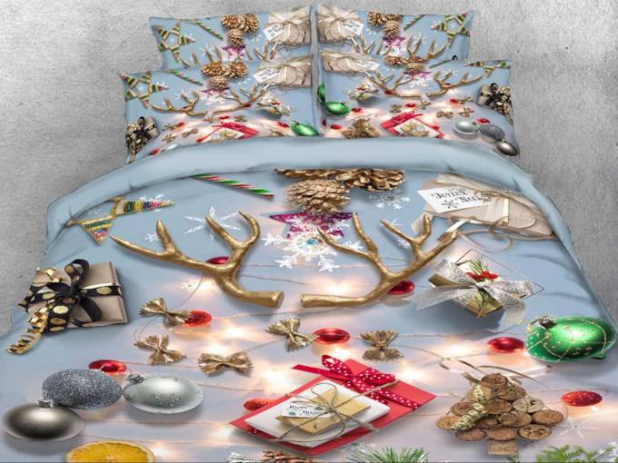 3D Christmas Ornaments Printed Cotton 4-Piece Bedding Sets/Duvet Covers