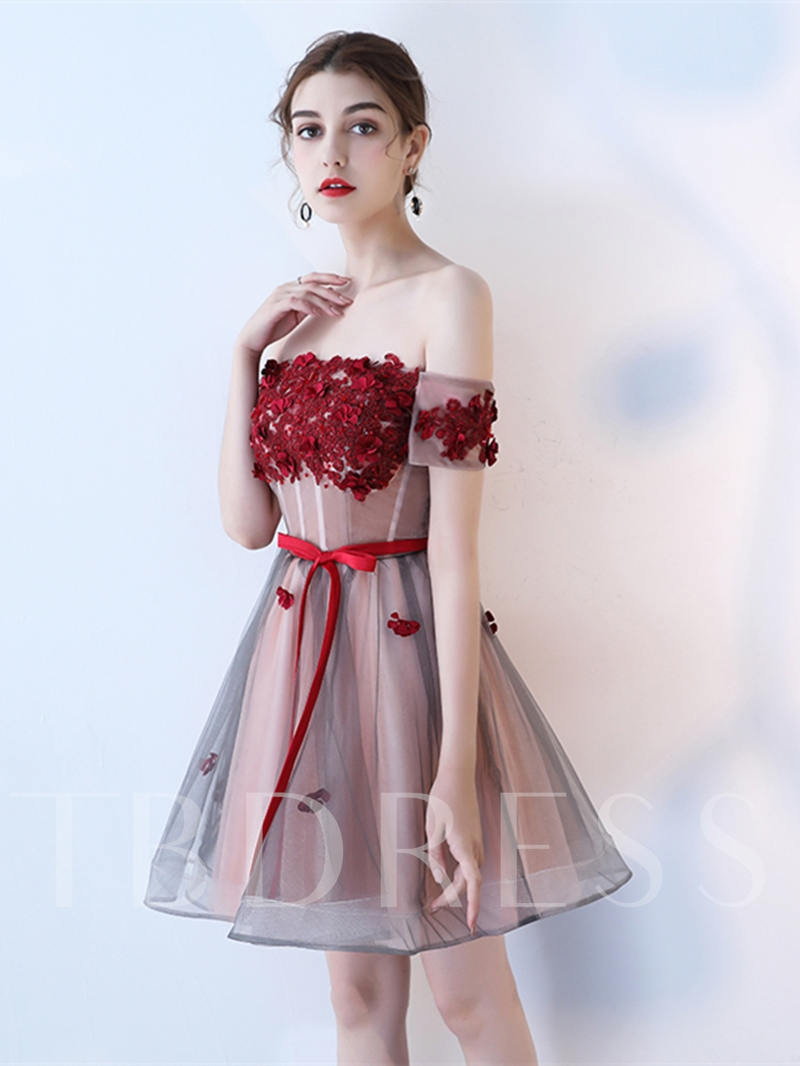 Image of A-Line Appliques Bowknot Flowers Sashes Off-the-Shoulder Homecoming Dress