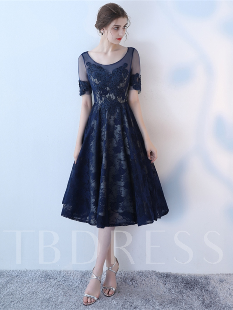 Image of A-Line Appliques Lace Scoop Short Sleeves Homecoming Dress