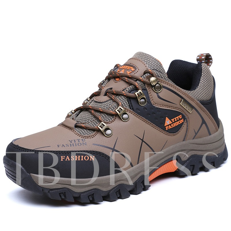Round Toe Color Block Letter Patchwork Men's Outdoor Hiking Shoes
