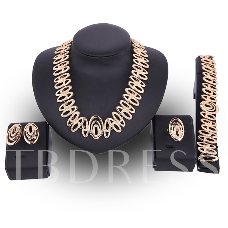 Hollow Out Oval Cut Alloy Four Piece Jewelry Sets