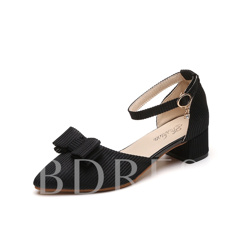 Buy Bow Microfiber Line-Style Buckle Plain Mid-Heel Women's Pumps Shoes, Spring,Summer,Fall, 12932321 for $34.99 in TBDress store