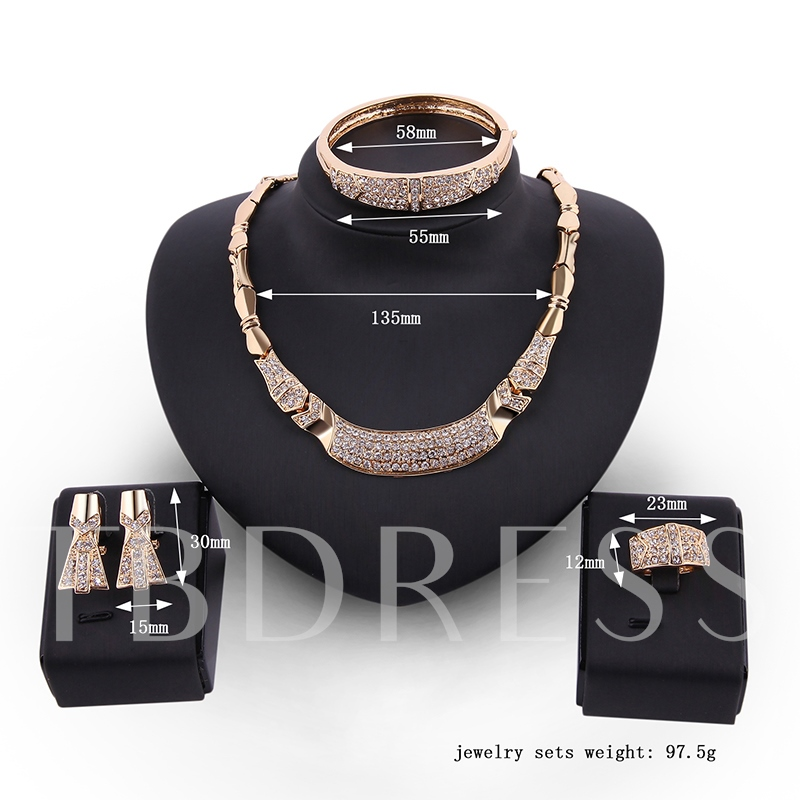 Alloy Diamante Bamboo Chain Four Piece Jewelry Sets