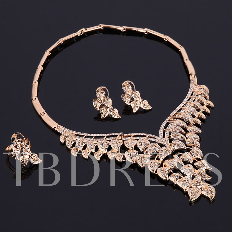 Leaf Shaped Diamante Bamboo Chain Alloy Jewelry Sets