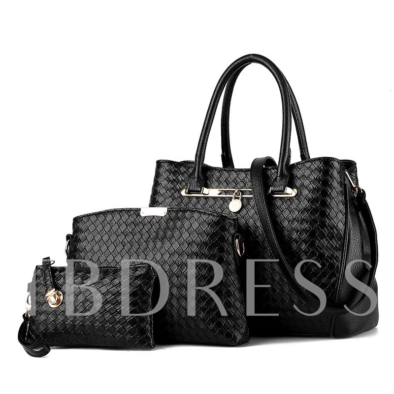 Casual Knitted Pattern Design Bag Set