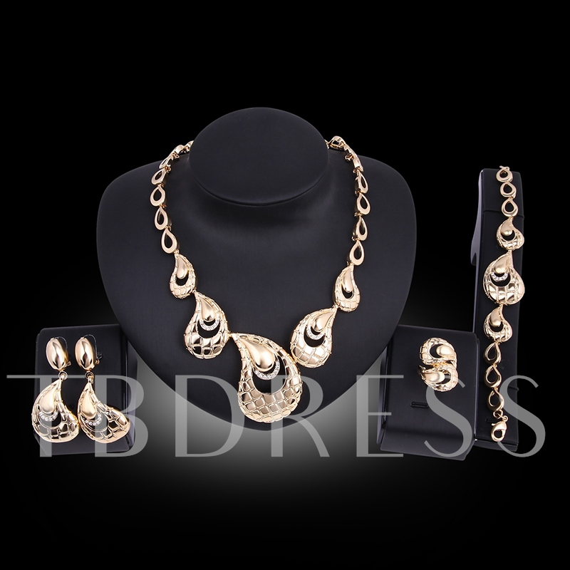 Overgild Hollow Out Diamante Pear Shaped Jewelry Sets