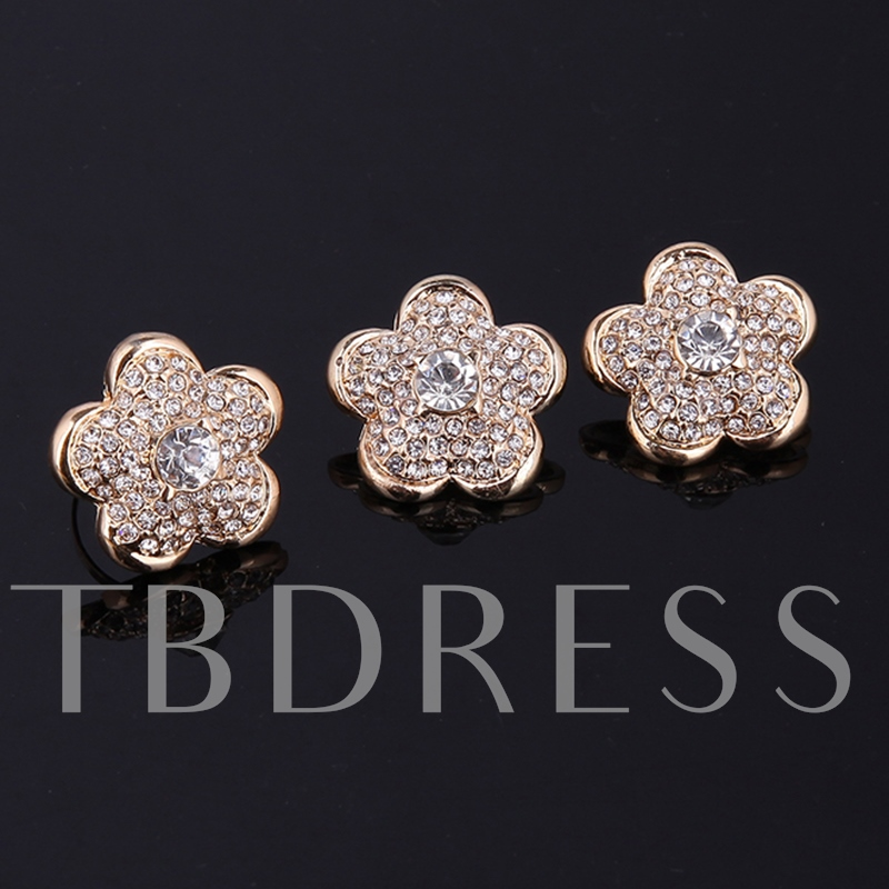 Big Flower Diamante Alloy Link Chain Jewelry Sets