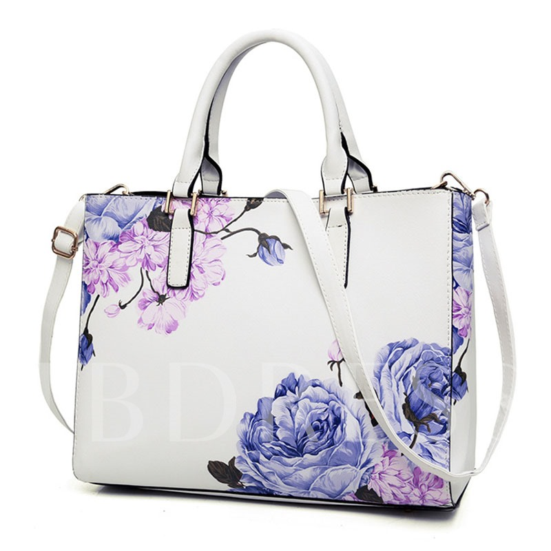 Ethnic Style Floral Print Tote Bag