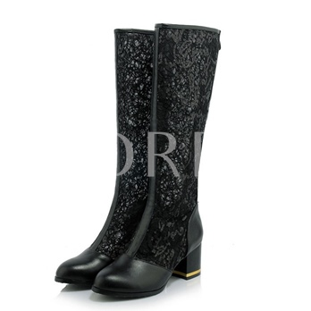 Mid-Calf Back Zip Chunky Heel Patchwork Women Boots Shoes