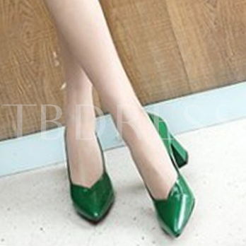Chunky Heel Patent Leather Kelly Green Pumps Plain Shoes