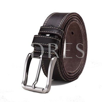 Thread Alloy Emerald Pin Buckle Upper Cowhide Men's Belts