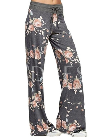 Wide Legs Floral Print Lace-Up Women's Casual Pants