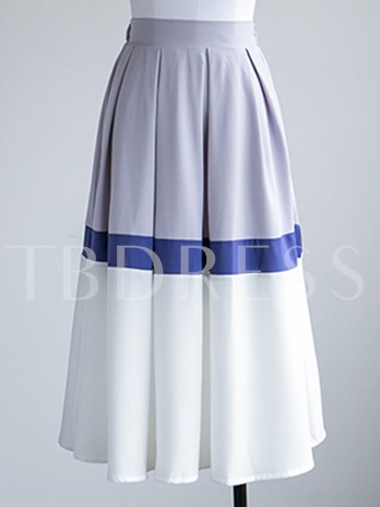Plain Mixed Colors Ankle-Length Women's Skirt