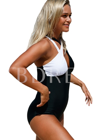 Sexy Color Block Cross Straps One Piece Swimsuit