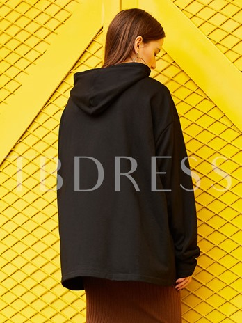 Drawstring Letter Embroideried Pullover Women's Hoodie