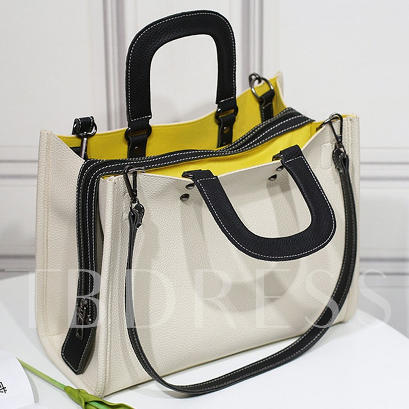 Korean Style Casual Patchwork PU Tote
