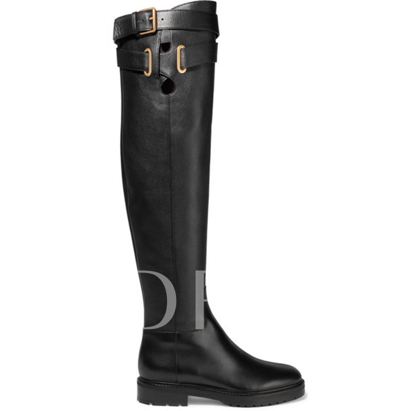 Buckle Sewing Buckle Hollow Women's Knee High Converse Riding Boots