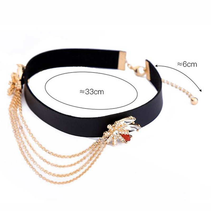 Flower Diamante Alloy Multilayer Link Chain Torques Choker Necklace