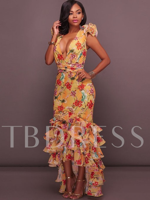 Yellow Open Back Floral Tiered Women's Maxi Dress