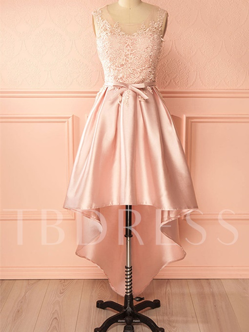 A-Line Bowknot Sashes Appliques Asymmetry Homecoming Dress