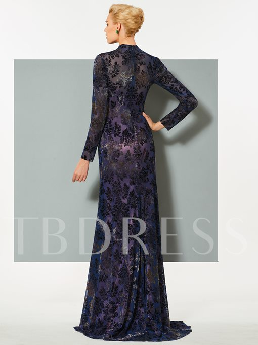 Mermaid Long Sleeves High Neck Lace Sweep Train Evening Dress