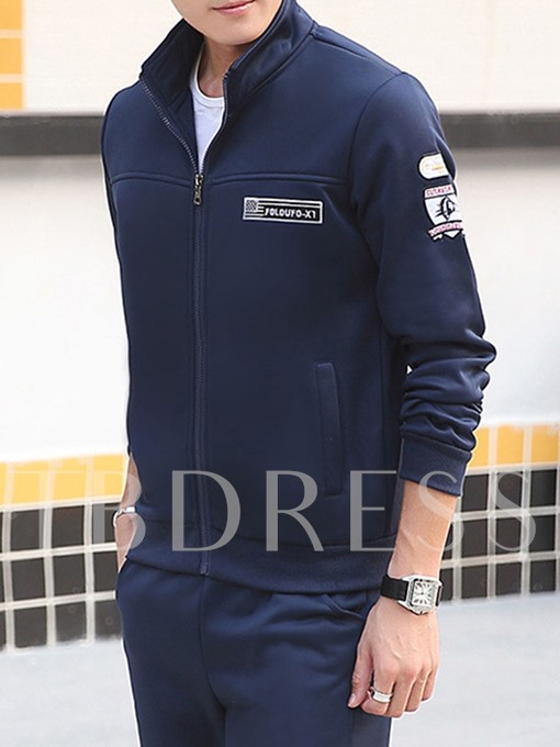 Stand Collar Embroidery Slim Fit Men's Sports Suit
